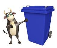 Personaje de dibujos animados de Bull con el cubo de basura Stock de ilustración