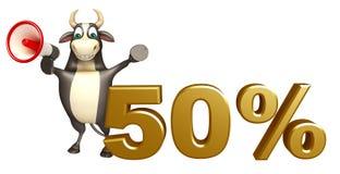 Personaje de dibujos animados de Bull con el loudseaker y la muestra del 50% Fotos de archivo libres de regalías