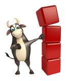Personaje de dibujos animados de Bull con el nivel Fotos de archivo libres de regalías