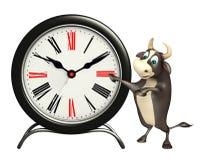 Personaje de dibujos animados de Bull con el reloj Ilustración del Vector