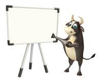 Personaje de dibujos animados de Bull con el tablero blanco Imagenes de archivo