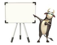 Personaje de dibujos animados de Bull con el tablero blanco Fotos de archivo