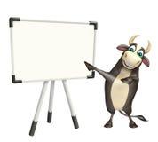 Personaje de dibujos animados de Bull con el tablero blanco Imágenes de archivo libres de regalías