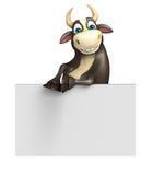 Personaje de dibujos animados de Bull con el tablero blanco Imagen de archivo libre de regalías