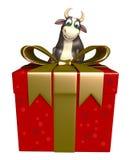 Personaje de dibujos animados de Bull con Giftbox Ilustración del Vector