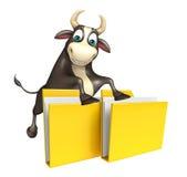 Personaje de dibujos animados de Bull con la carpeta Fotografía de archivo