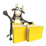 Personaje de dibujos animados de Bull con la carpeta Fotos de archivo libres de regalías