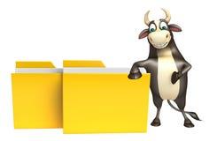 Personaje de dibujos animados de Bull con la carpeta Fotografía de archivo libre de regalías