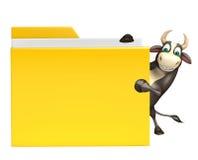 Personaje de dibujos animados de Bull con la carpeta Ilustración del Vector