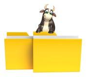 Personaje de dibujos animados de Bull con la carpeta Imágenes de archivo libres de regalías