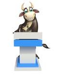 Personaje de dibujos animados de Bull con la etapa del discurso Imagen de archivo libre de regalías