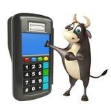 Personaje de dibujos animados de Bull con la máquina del intercambio Imágenes de archivo libres de regalías