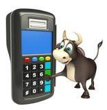 Personaje de dibujos animados de Bull con la máquina del intercambio Ilustración del Vector