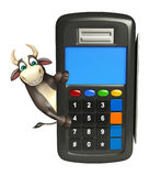 Personaje de dibujos animados de Bull con la máquina del intercambio Foto de archivo libre de regalías