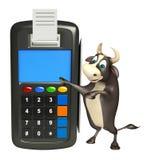 Personaje de dibujos animados de Bull con la máquina del intercambio Fotos de archivo libres de regalías