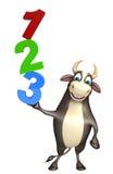 Personaje de dibujos animados de Bull con la muestra 123 Stock de ilustración