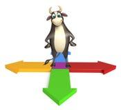 Personaje de dibujos animados de Bull con la muestra de la flecha Stock de ilustración