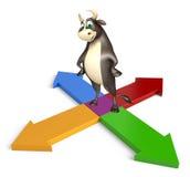 Personaje de dibujos animados de Bull con la muestra de la flecha Imagen de archivo