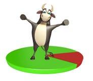 Personaje de dibujos animados de Bull con la muestra del círculo Ilustración del Vector