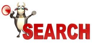 Personaje de dibujos animados de Bull con la muestra del loudseaker y de la búsqueda Libre Illustration