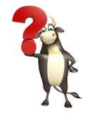 Personaje de dibujos animados de Bull con la muestra del signo de interrogación Ilustración del Vector
