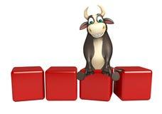 Personaje de dibujos animados de Bull con la muestra llana Fotos de archivo libres de regalías