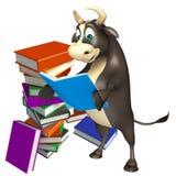 Personaje de dibujos animados de Bull con la pila de libro Ilustración del Vector