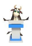 Personaje de dibujos animados de Bull con la tabla del discurso Fotografía de archivo