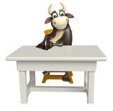 Personaje de dibujos animados de Bull con la tabla y la silla Fotos de archivo libres de regalías