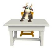 Personaje de dibujos animados de Bull con la tabla y la silla Stock de ilustración
