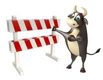 Personaje de dibujos animados de Bull con los baracades Imagen de archivo