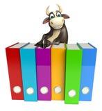 Personaje de dibujos animados de Bull con los ficheros Foto de archivo libre de regalías