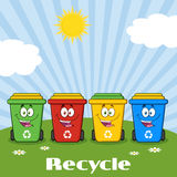 Personaje de dibujos animados de cuatro Papeleras de reciclaje del color en Sunny Hill With Text Recycle Imágenes de archivo libres de regalías