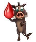 Personaje de dibujos animados de FunBoar con gota de sangre Imagenes de archivo