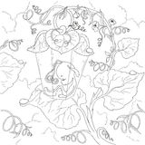Personaje de dibujos animados de hadas El dormir de hadas de la luciérnaga en las hojas Libro de colorear de la página Vector ais Foto de archivo