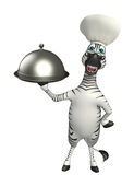 Personaje de dibujos animados de la cebra con el sombrero y la campana de cristal del cocinero Fotografía de archivo