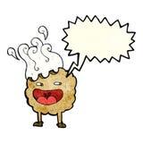 personaje de dibujos animados de la galleta con la burbuja del discurso Fotografía de archivo