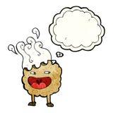 personaje de dibujos animados de la galleta con la burbuja del pensamiento Imagenes de archivo