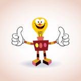Personaje de dibujos animados de la mascota del robot de la bombilla Foto de archivo libre de regalías
