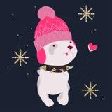 Personaje de dibujos animados de la moda del perro que lleva libre illustration