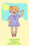 Personaje de dibujos animados de la niña del vector Fotos de archivo