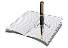 Personaje de dibujos animados de la pluma con el cuaderno Imagen de archivo