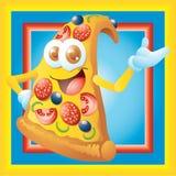 Personaje de dibujos animados de la rebanada de la pizza Fotos de archivo libres de regalías
