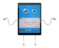 Personaje de dibujos animados de la tableta con el error 404 en la pantalla ilustración 3D Imagenes de archivo