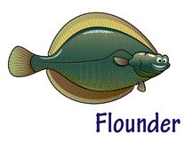 Personaje de dibujos animados de los pescados de la platija Imagen de archivo libre de regalías
