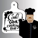 Personaje de dibujos animados de Serving Food Realistic del cocinero del cocinero Fotografía de archivo libre de regalías