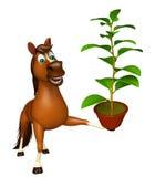 personaje de dibujos animados del caballo de la diversión con la planta Fotos de archivo