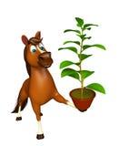 personaje de dibujos animados del caballo de la diversión con la planta Foto de archivo libre de regalías