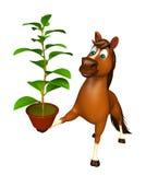 personaje de dibujos animados del caballo de la diversión con la planta Imagen de archivo