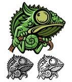 Personaje de dibujos animados del camaleón Imágenes de archivo libres de regalías